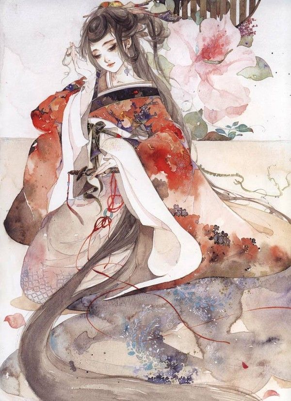 Chinese painting. girl in Hanfu