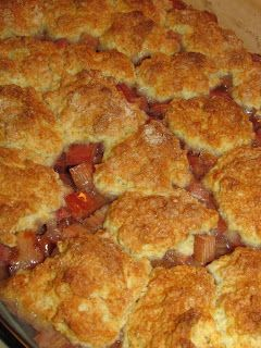 My husband requested this Rhubarb Cobbler and I was pleasantly surprised! It tasted like a sweet/tart, gooey/rich cherry like cobbler!