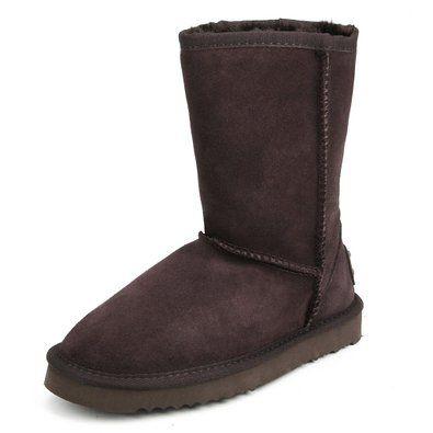 Shenda Scarpe invernali classic - Stivali da neve in pelle a mezza gamba con caldo comode Donna 8A5825 Cioccolato 35