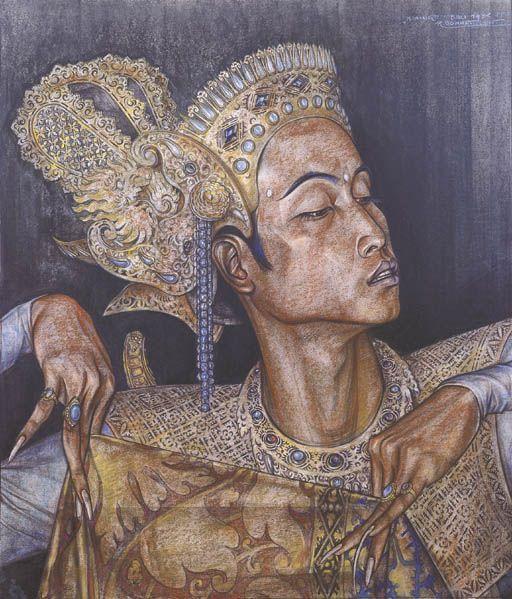 Rudolf Bonnet:  Ida Bagus Made Djatasura in a N'amir pose, 1935