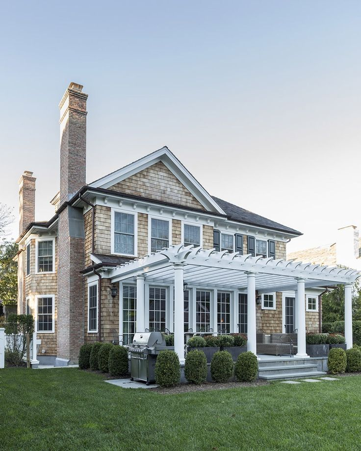 Southampton, NY Home  Architectural Details  Shingle Style  TraditionalNeoclassical  Architectural Detail  Porch  Rear Facade by Brady Design