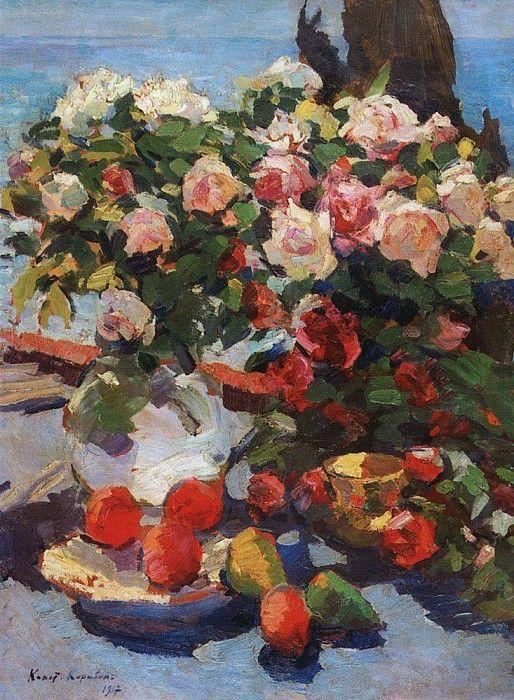 Розы и фрукты. 1917. Коровин Константин Алексеевич (1861-1939)