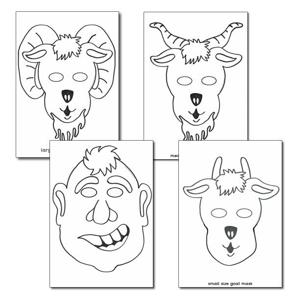 billy goat gruff role play masks colouring sheets summer billy goats gruff goats goat mask. Black Bedroom Furniture Sets. Home Design Ideas