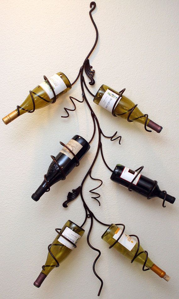Handmade+wall+mounted+six+bottle+wine+rack+by+JBMetals+on+Etsy,+$95.00
