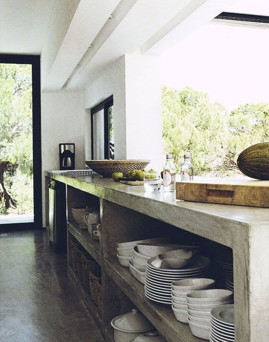 Pin 1 : kitchen benchtop and storage underneath  act as clever application with concrete .