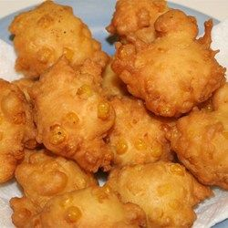 Corn Fritters Allrecipes.com These do not need the added Crisco.  It makes them absorb more oil.  Other than that, these are super.