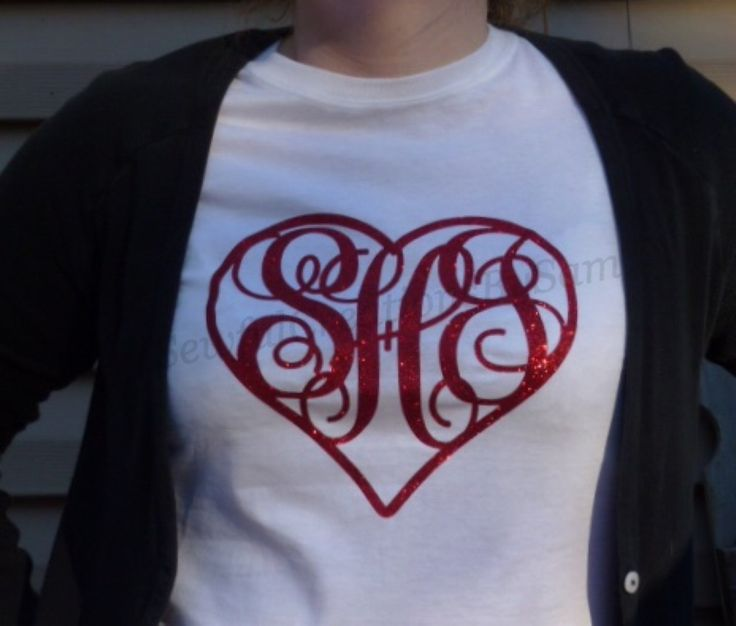 Monogrammed Red Glitter Heart T Shirt Youth And Womens Sizes