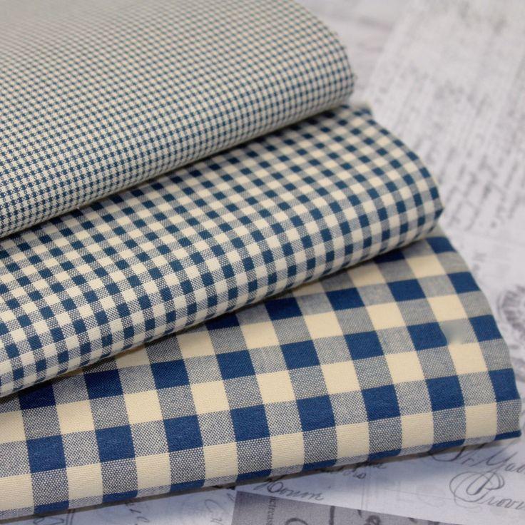 Kent 2 Vintage Gingham Fabric Vintage Navy