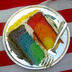 Rainbow Cake...I've been looking for this. Only thing I'd do differently is use a springform pan. Totally bringing this to the Pride Parade in June!!!