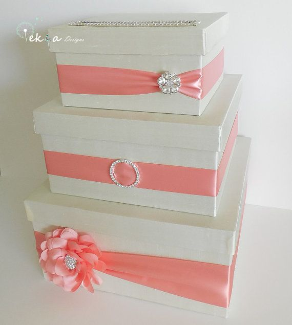 3 Tier Wedding Gift Box : card box money box card holder gift card box 3 tier ivory amp coral on ...