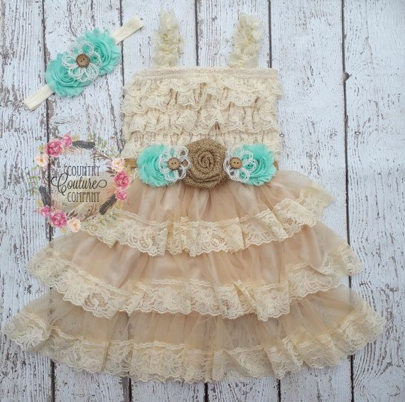 Lace Flower Girl Dress-Mint Flower by CountryCoutureCo on Etsy