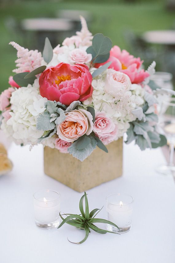 Pink peony centerpiece | Photo by Brandon Kidd | Read more - http://www.100layercake.com/blog/?p=78718 #malibu #ranch #wedding