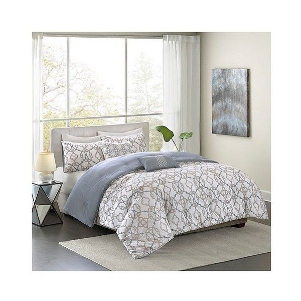 Ruby Geometric Cotton Comforter Set ($110) ❤ liked on Polyvore featuring home, bed & bath, bedding, comforters, organic cotton bedding, geometric comforter, geometric bedding, full/queen comforter and cotton bedding