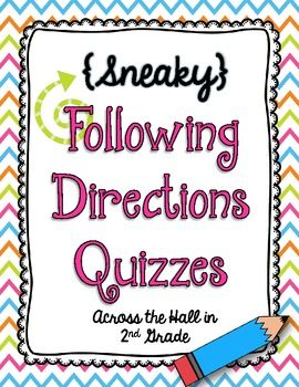 {Sneaky} Following Directions Quizzes - Across the Hall in 2nd Grade - TeachersPayTeachers.com