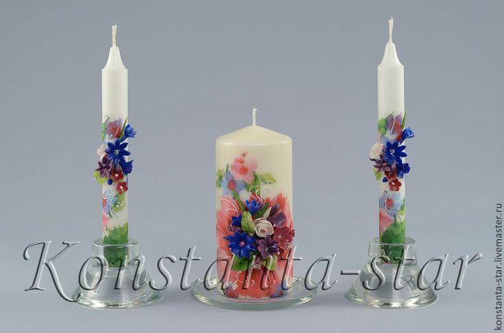 Купить Свадебные свечи в лилово-сине-розовые тонах - свечи ручной работы, Свечи
