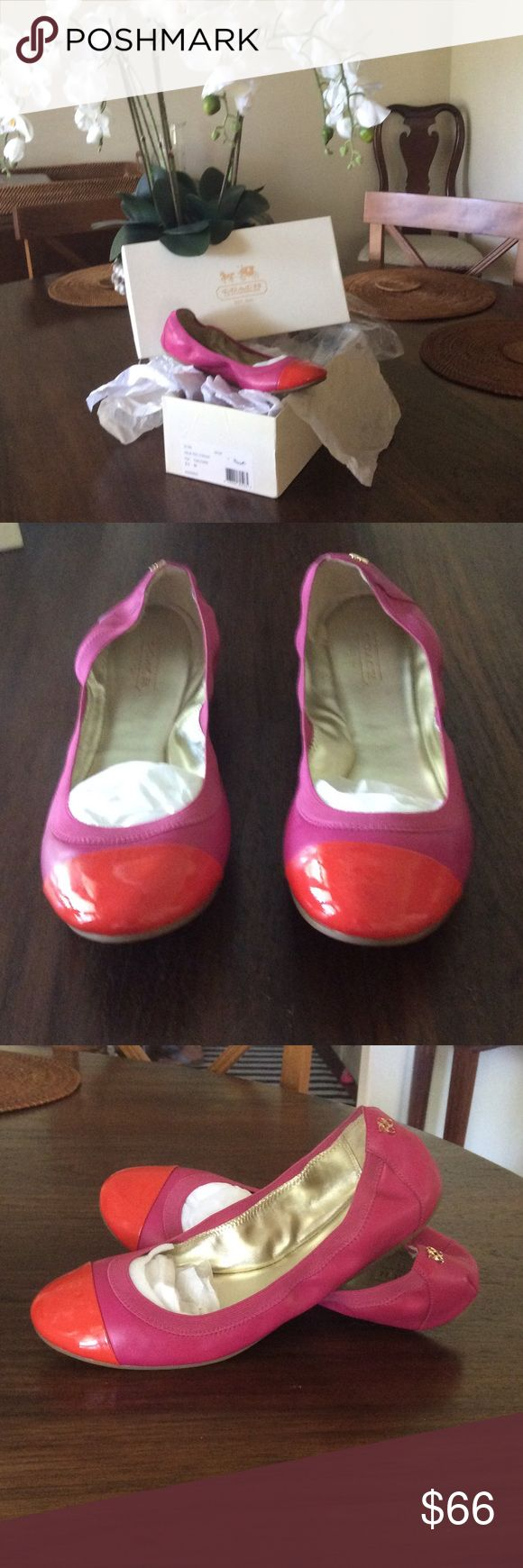 Size 9.5 Pink & Orange Coach Flats Only been worn once for a couple of hours. Will ship with original box. Mint condition. Coach Shoes
