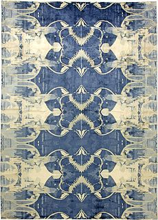 """Contemporary Blucie Design Rug (N11283):  This contemporary silk rug, done in rich indigo, cobalt and cerulean was seen in Architectural Digest (April 2015) as a 9' x 12', but is also available in 10' x 14' for trade and can be done in custom colours.  The Blucie rug is an excellent representative example of an abstract piece where texture and design work  in combination to create the feeling of depth and movement.  AD called it a """"fantastical vision of the cosmos"""". -   dorisleslieblau.com"""