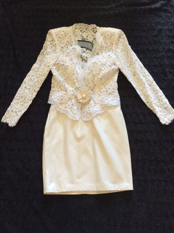 Gorgeous Lillie Rubin Ivory Leather & Lace Wedding Suit