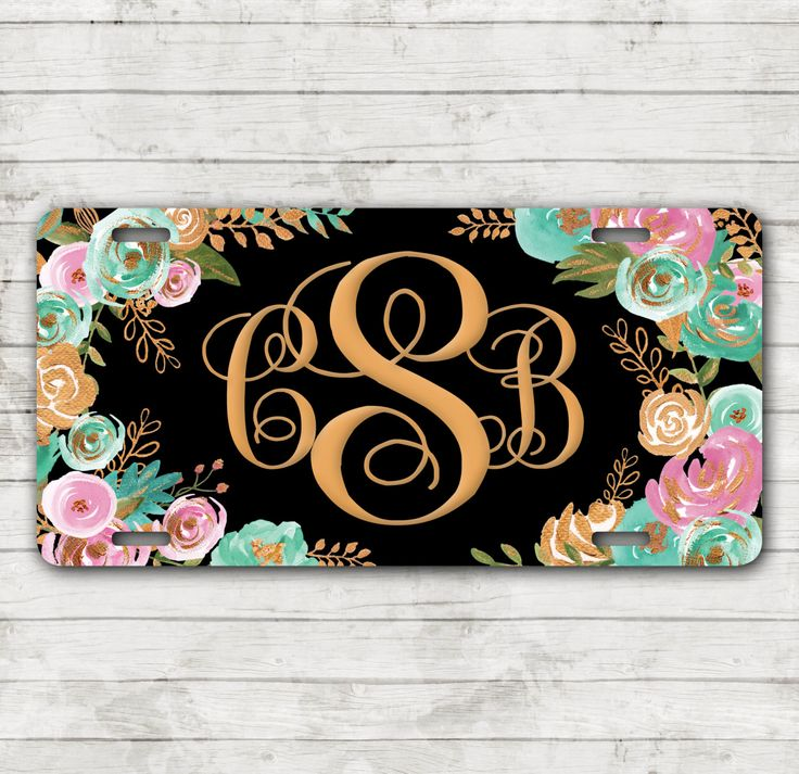 Classy Mint & Gold Floral Front License Plate Personalized Monogrammed Car Tag Car Accessories Gift Sweet 16 Cute Car Accessories For Women by ChicMonogram on Etsy