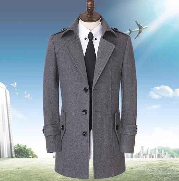 Autumn single breasted woolen coats men suit overcoat men cashmere coat casaco masculino england business clothing plus size 9XL
