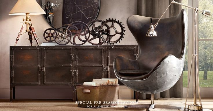industrial: Living Rooms, Restoration Hardware, Industrial Interiors, Google Search, Interiors Design, Industrial Chic, Reading Chairs, Interiordesign, Man Caves