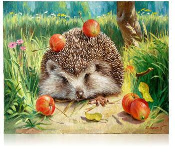 Framed Little Hedgehog Oil Painting DIY Paint by Numbers 50x40cm (20x16'') PBN YZ7008