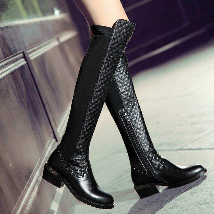 Ботинки женщин 2016 осень зима дамы мода плоским дном сапоги туфли бедро высокие замшевые сапоги бренда дизайнер