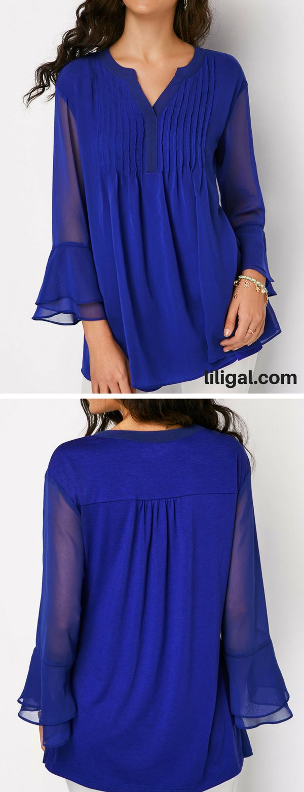 Split Neck Pleated Layered Bell Sleeve Blouse #liligal #blouse #shirts #top #womenswear #womensfashion
