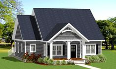 Just the right size to make it easy to clean and maintain, this cozy Cottage house plan fits well on a narrow lot.An open floor plan makes the home feel much large, with sight lines that run from the front door all the way to the deck in back.The efficient kitchen benefits from both an island and a peninsula eating bar.Double doors in the master suite lead out to the large back deck.Two family bedrooms lie across the house away from the master sui