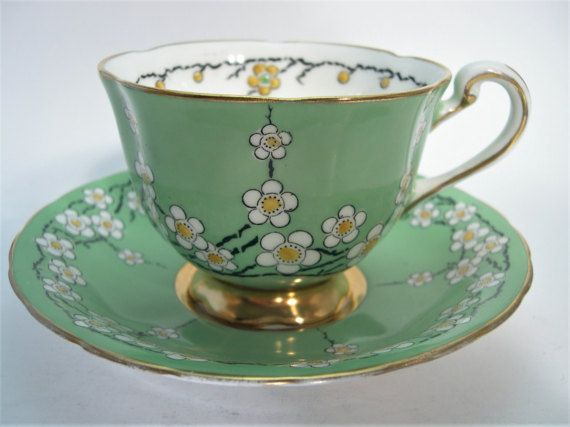 Rare Antique 1940's Royal Chelsea  tea cup and saucer, Hand painted tea cup and saucer set, Green Tea cup and saucer set.