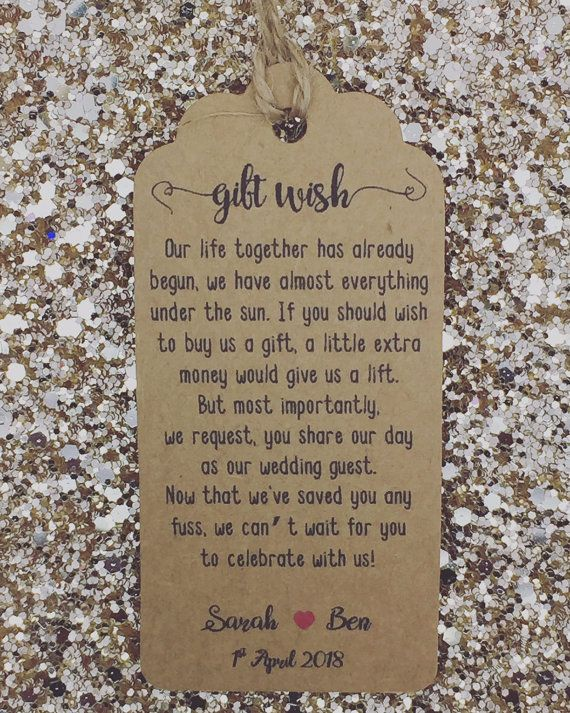 Personalised Wedding Gift wish Poem Tags with a string (packed separately) If like to have a different poem or text feel free to contact me :) The tag size is 9.5cm*4.5cm / 350gr card Personalised with a BRIDE & GROOM NAMES + WEDDING DATE the rest will be the EXACT DESIGN/ WORDING as in the pic Please make sure you are happy with the estimated delivery time before purchasing the item :) DOUBLE SIDED TAGS ARE ALSO AVAILABLE, CONTACT ME WITH THE QUANTITY FOR A QUOTE If you would like a custom…