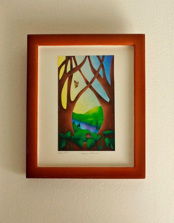 FRAMED ART PRINT Custom Framed Art Print by TheValerieGallerie (Art & Collectibles, Prints, Digital Prints, framed print, artwork, valerie walsh, art, custom frame, Topanga, cabin, spring, butterfly, art print, green, brown, framed art)