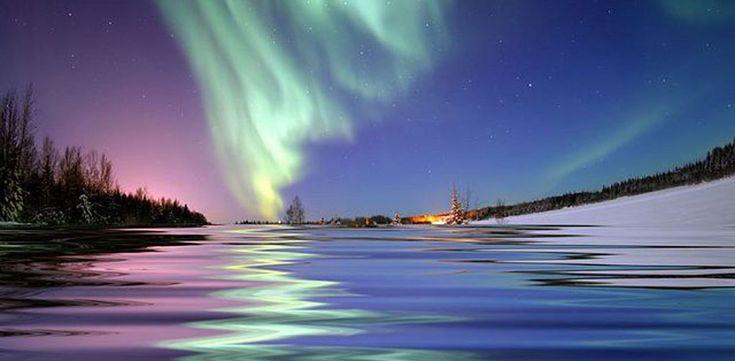 Bear Lake, Alaska - Aurora borealis lights up the late-night skies in winter, spring and fall.
