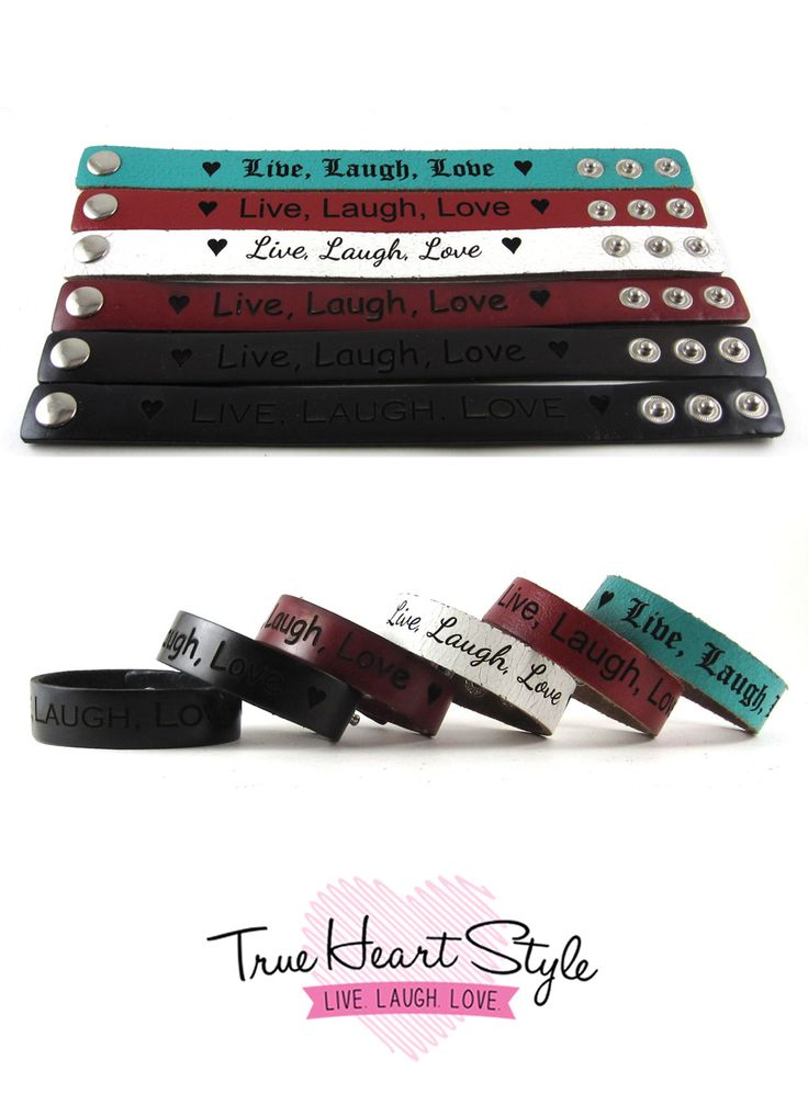 Personalized Leather Bracelet Band, Engraved with Your Custom Message.