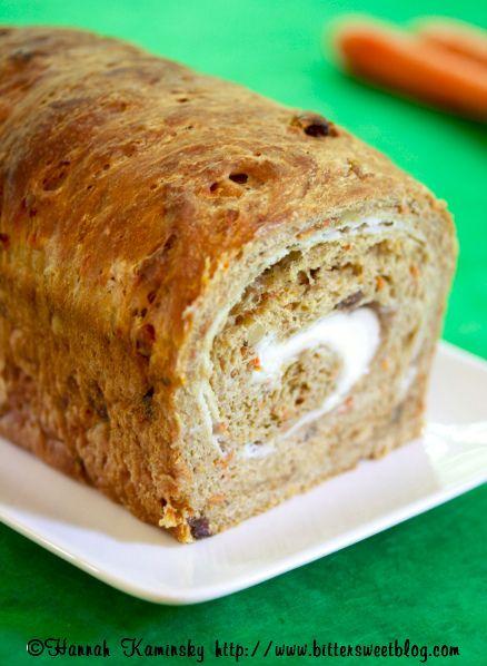 carrot cake bread with cream cheese swirl