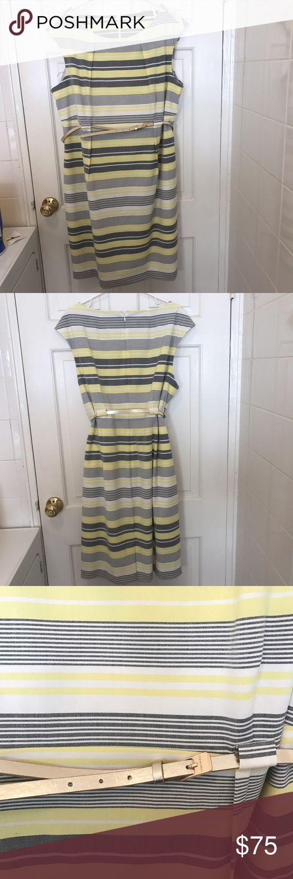 Calvin Klein Work Dress 18 W Calvin Klein yellow gray and white work dress. Worn twice. Adorable and flattering. Small black dot on front of Dress can be seen in last picture. Calvin Klein Dresses