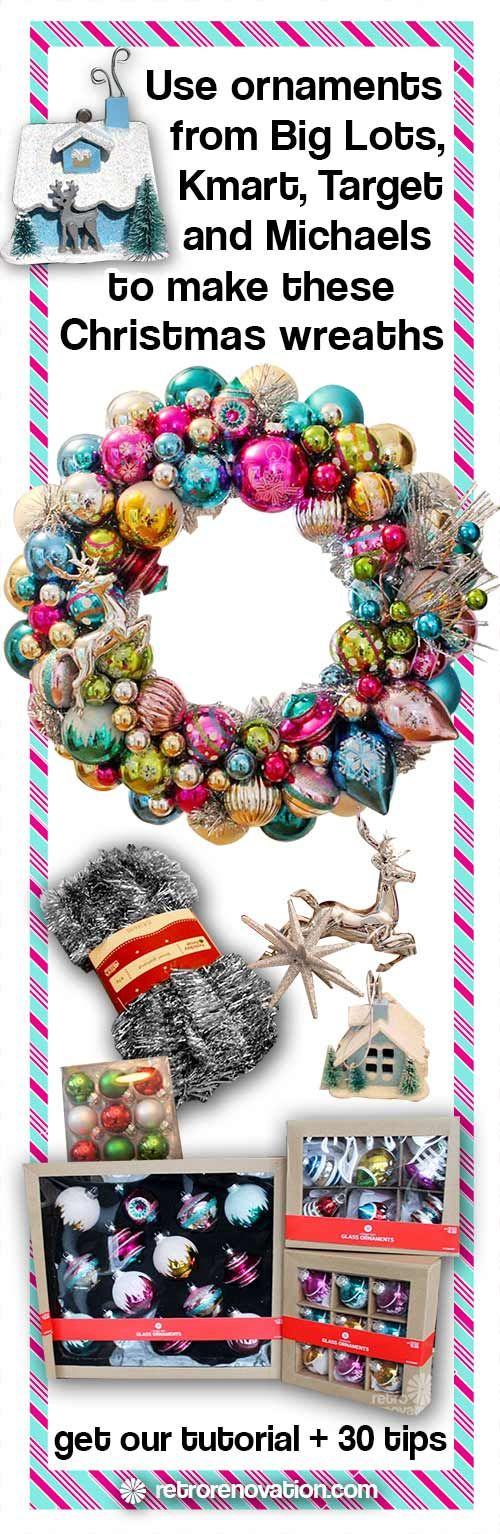 How to make ornament wreaths using new ornaments -- my family loved this aqua and pink themed one!