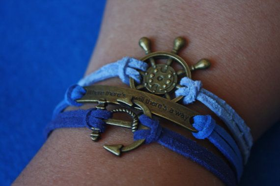 Ombre Blue Suede with Bronze Brass Anchor, Rudder, Quote Charm Bracelet