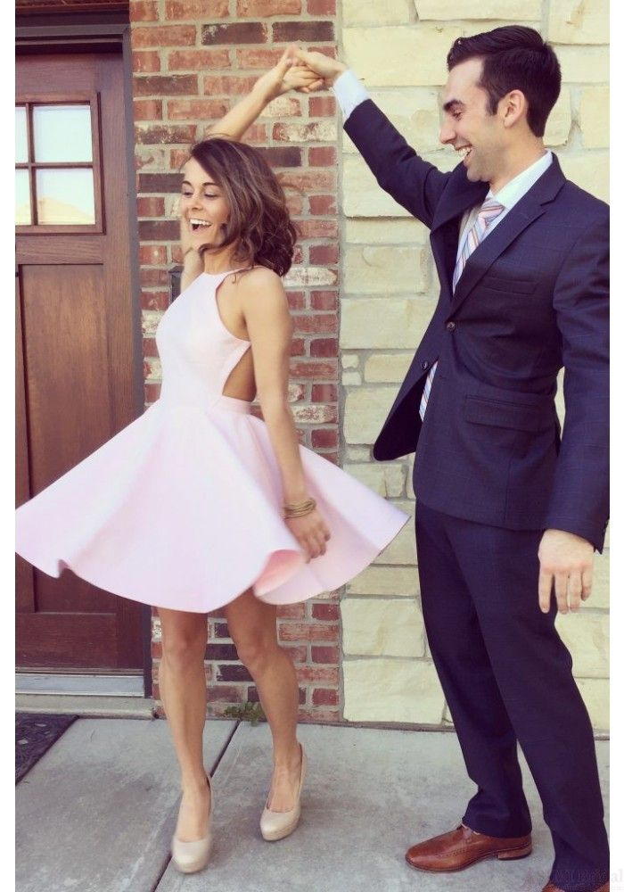 Good Cut Pink Short Backless Homecoming Party Dressed1014