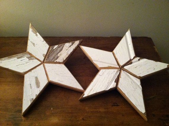 White Wooden Star Tree Topper Christmas by BaldMansWorkshop