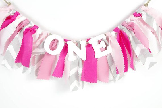 Pink, White and Gray Chevron Girl's Birthday Party - Girl's First Birthday - Garland - Bunting - Photoshoot Prop on Etsy, $16.00