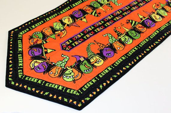 Halloween Witches Quilted Table Runner  Orange by QuiltSewPieceful