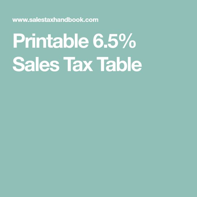 Printable 6.5% Sales Tax Table