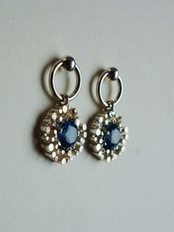 Sterling silver earrings with synthetic aquamarine Design&Handmade by K.Tokar