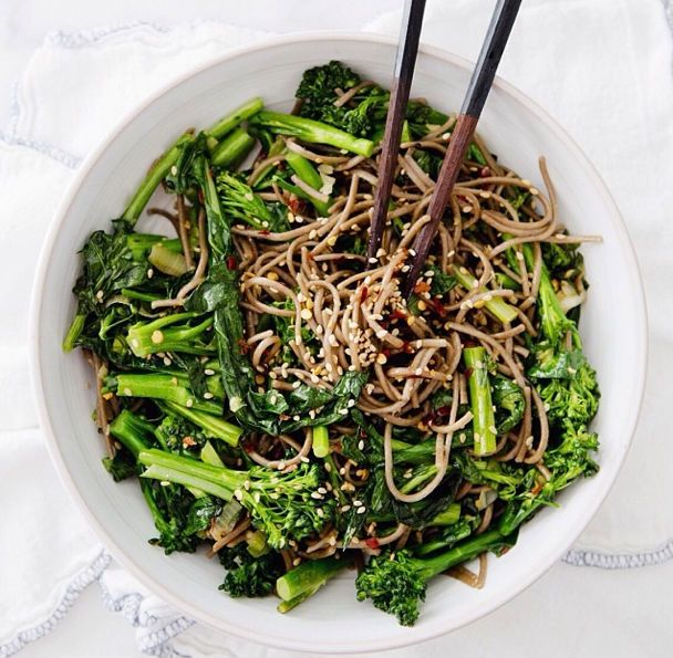Noodle Dishes - Vegan Gluten-Free Recipes - Country LivingRapini Noodlebowl, Rapini Noodles, Vegan Recipe, Health Benefits, Soba Noodles, Noodles Bowls, Rice Noodles,  Flowerpot, Dinner Recipe