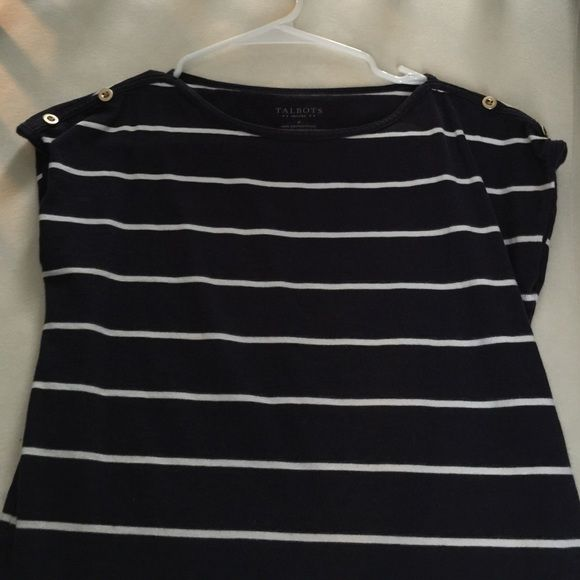 Talbots Nautical Shirt Talbots petite small navy and white short sleeve shirt with gold buttons at the shoulder. Talbots Tops