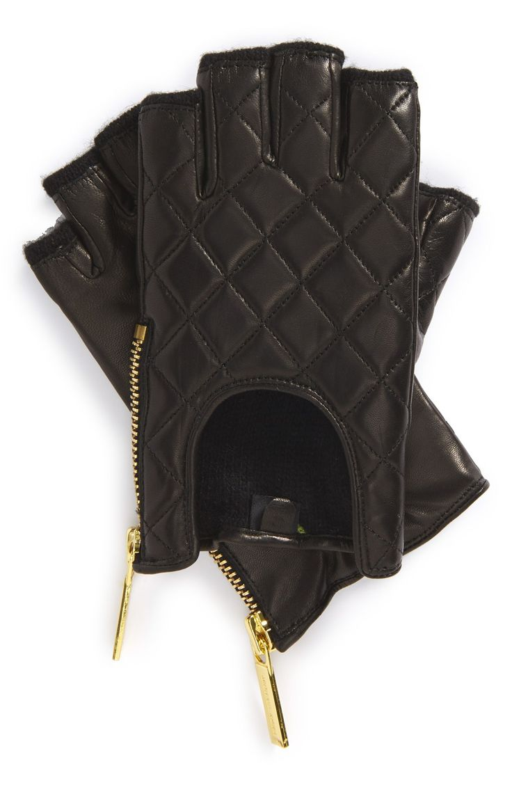Leather driving gloves with zipper - Adoring The Shiny Gold Tone Zip On These Fingerless Quilted Driving Gloves