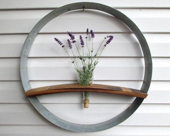 Wine Barrel Ring & Stave Wall Hanging, Flower Holder, Wedding Display, Wine Barrel Stave, Wine Barrel Ring, Wine Bottle Vase, Wine Art