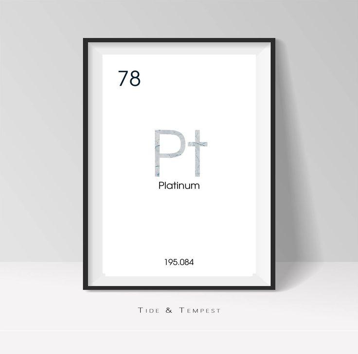 Periodic Table, Platinum, Metal, Digital Wall Art, Modern, Minimalist, Printable Design, Download, Digital Print by TideandTempest on Etsy