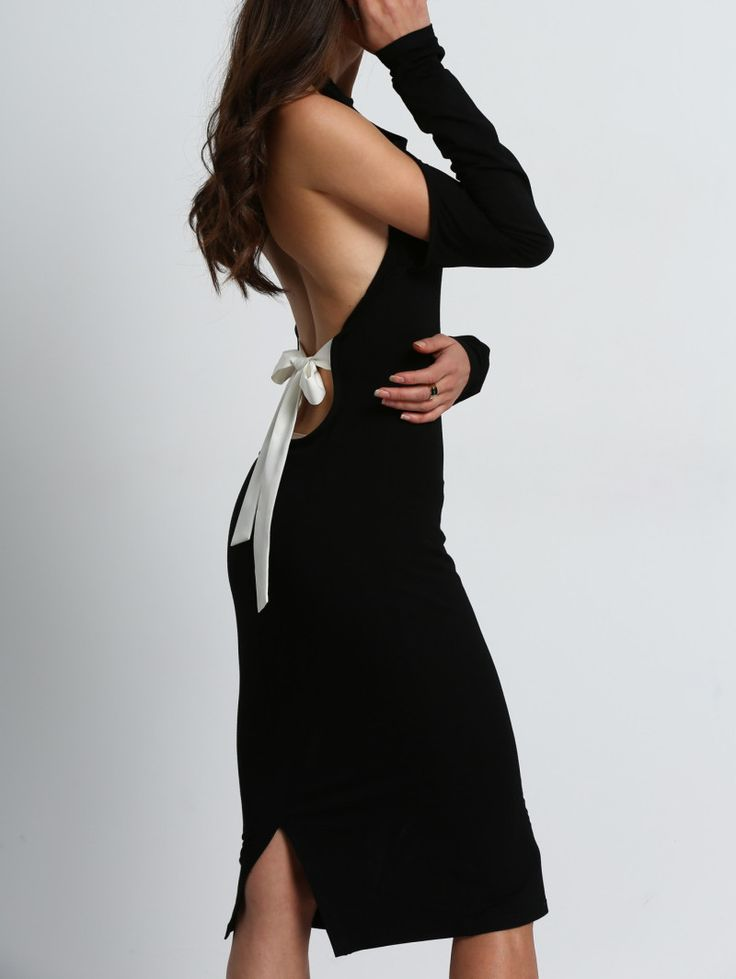SheIn offers Black Open Shoulder Backless Bow Halter Dress & more to fit  your fashionable needs.